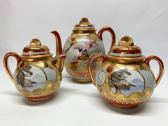 Oriental Porcelain Teapot W/Cream & Sugar