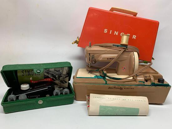 """Singer """"Sewhandy"""" Electric Sewing Machine W/Attachments"""