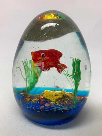 Murano, Italy Glass Paperweight W/Goldfish