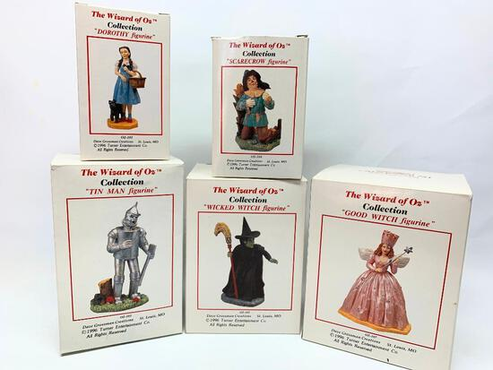 """(5) """"Wizard Of Oz"""" Figures W/Boxes By Dave Grossman 1996"""