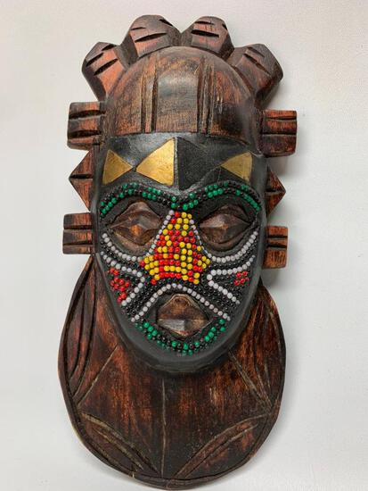 Carved Wooden Beaded Tribal Mask From Ghana