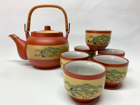 Japanese Stoneware Tea Set: Pot & (6) Cups