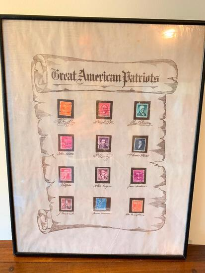 "Interesting Framed ""Great American Patriots"" Stamp Collection"