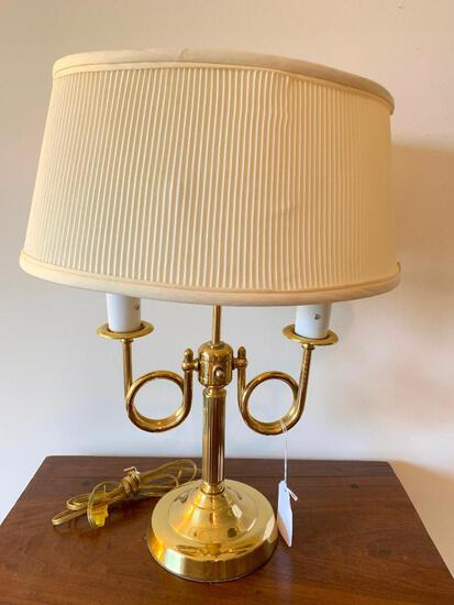 Brass Double-Arm Lamp W/Shade