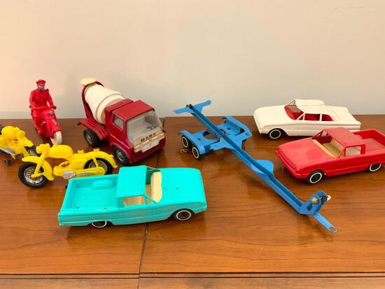 Vintage Marx Cement Truck, (3) Plastic Cars, Boat Trailer, & Auburn Motorcycle
