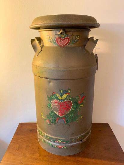 Antique 5 Gallon Milk Can W/Lid