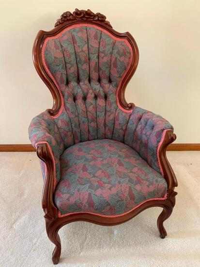 """Victorian Style Solid Mahogany Arm Chair W/Carved """"Roses"""" Crest & Tufted Back"""