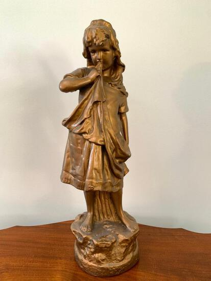 Vintage Plaster Statue Of Young Girl