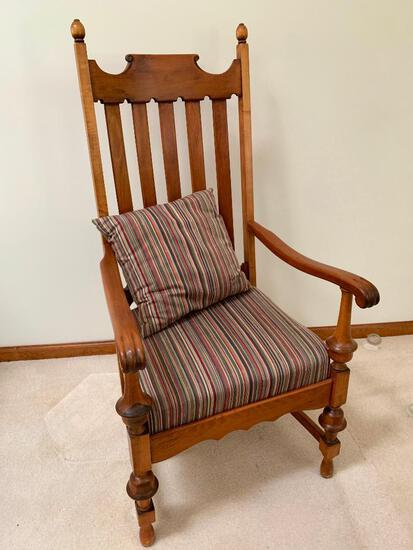 Vintage Slat-Back Arm Chair W/Upholstered Seat & Pillow