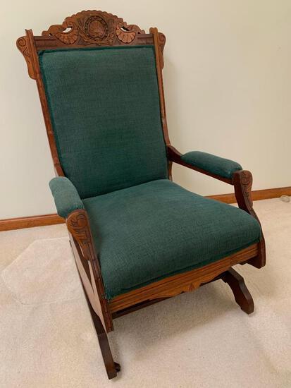 Victorian Walnut Base Rocker W/Upholstered Seat, Back, & Arms