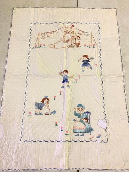 Vintage Hand Stitched Needlepoint Crib Quilt