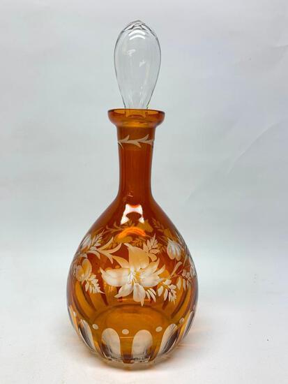 Vintage Amber Bohemian Cut Glass Decanter W/Stopper & Floral Design