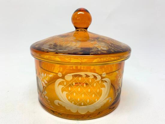 Vintage Amber Bohemian Cut Glass Dresser Jar W/Lid In Ornate Design