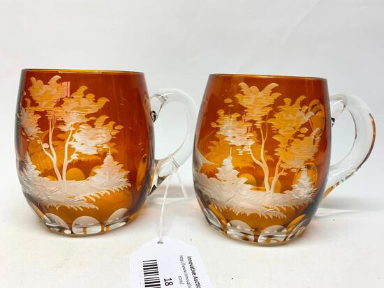 (2) Vintage Amber Bohemian Cut Glass Mugs W/Game Birds & Applied Handles