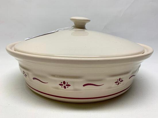 """Longaberger Pottery """"Woven Traditions"""" 2 Qt. Casserole In Red W/Lid"""