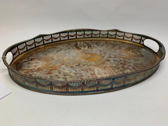 Great Sheffield, England Engraved & Chased Silverplate Serving Tray W/Handles