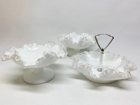 Fenton Silver Crest Ruffled Edge Candy & (2) Open Candy's