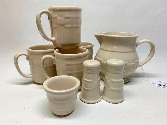 "Longaberger Pottery ""Woven Traditions"" 1 Qt. Ivory Pitcher, (4) Mugs, & Salt/Pepper"