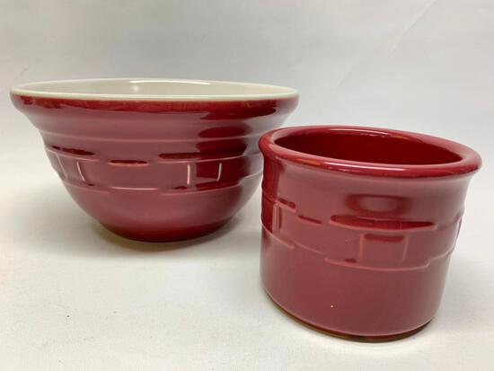 """Longaberger Pottery """"Woven Traditions"""" Mixing Bowl & Small Crock In Red"""