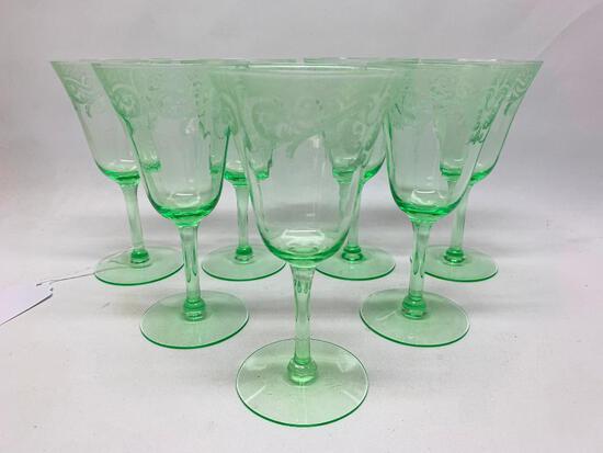 (7) Vintage Green Stemmed Wine/Champagne Glasses W/Etched Pattern