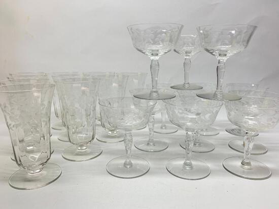 (22) Pcs. Vintage Elegant Etched Glassware