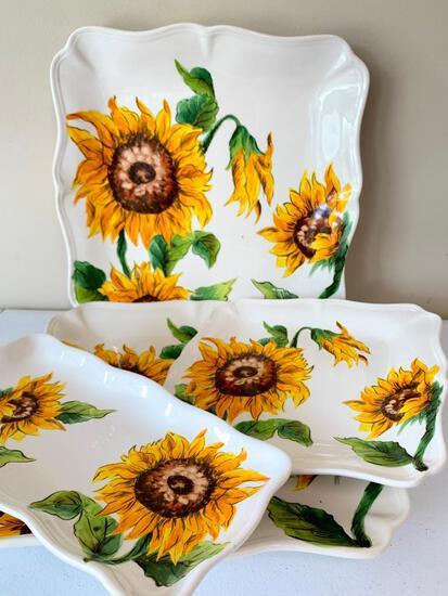 "(4) ""Maxcerna"" Ceramic Serving Trays W/Sunflower Design"