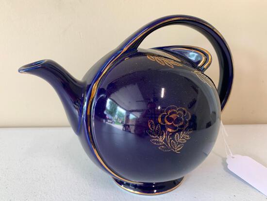 "Vintage Hall China ""Airflow"" Cobalt Blue Teapot W/Gold Trim & Flowers"