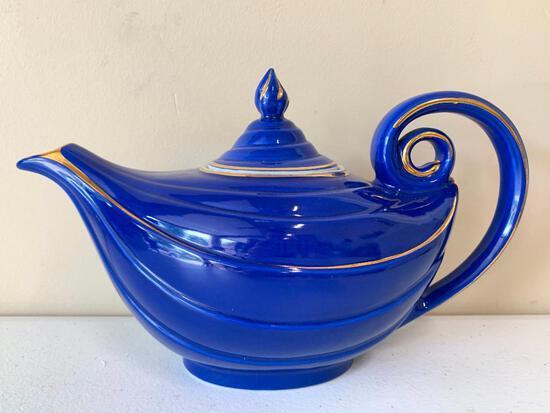 Vintage Hall China Aladdin Shaped Cobalt Blue Teapot W/Gold Trim