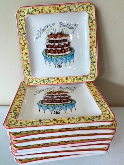 """(8) """"Happy Birthday"""" Cake Plates From Italy"""