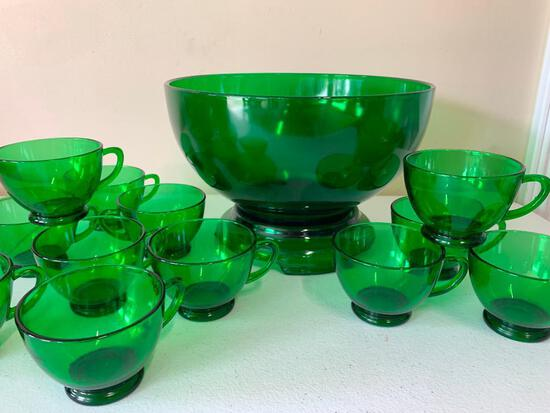 Vintage Green Glass Punch Bowl W/(12) Matching Cups