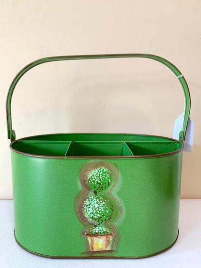 Painted Tin Handled Divided Organizer