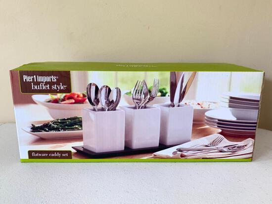 Unused Buffet Style Ceramic Cutlery Holders