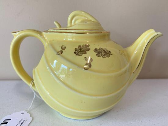 Vintage Hall China Teapot In Parade Style Yellow W/Gold Trim & Flowers