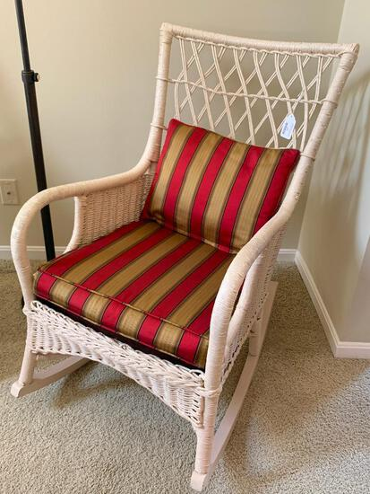 Antique Wicker Rocking Chair W/Upholstered Seat & Pillow
