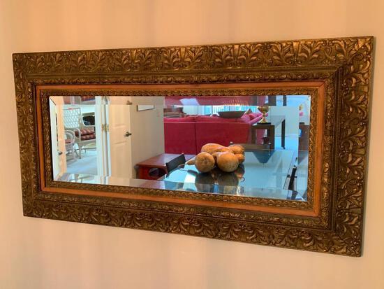 Antique Beveled Mirror In Ornate Gesso Frame