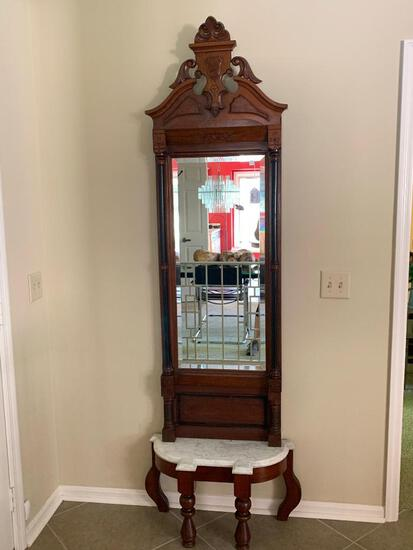 Victorian Entry Beveled Mirror W/Marble Top Base