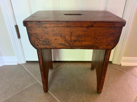 Antique Wooden Stool W/Hand Grip