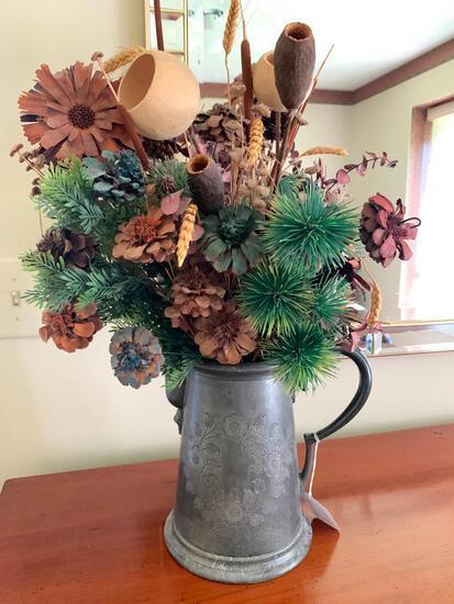 Quadruple Plate Coffee Pot W/Floral Decoration