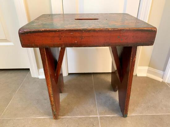 Early Primitive Wooden Stool W/Hand Grip