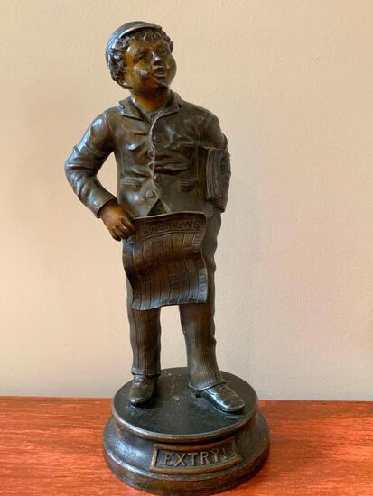 Vintage Bronze Clad Over Base Metal Statue Of News Carrier
