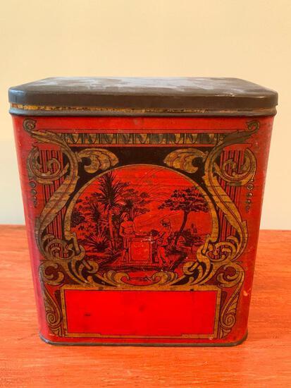 Antique Tin Litho Tea Tin W/Lid
