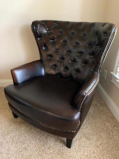 Vansen Top Grain Leather Wing Back/Tufted Back Chair
