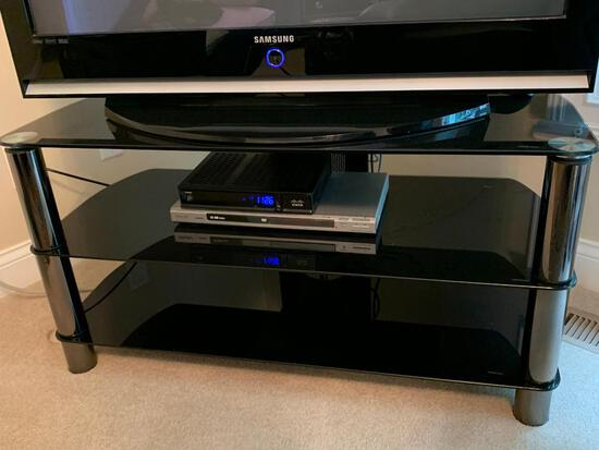 Chrome & Tempered Glass Entertainment Stand