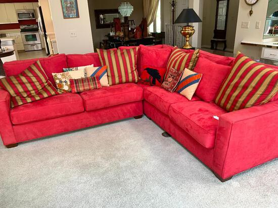 Martha Stewart Signature Sectional, Micro-Fiber Couch W/Pillows