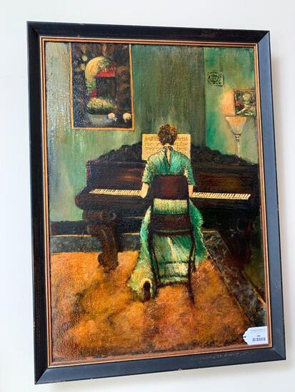 Framed Oil On Canvas Of Lady Playing Piano