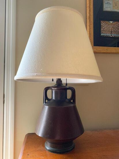 Contemporary Arts & Crafts Style Metal Lamp W/Cloth Shade