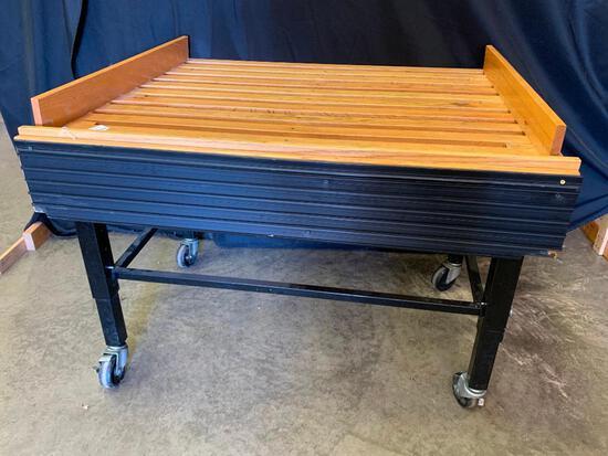 Oak Display Table On Wheels