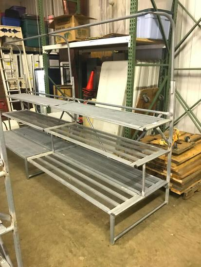 Two Sections of Outdoor, Tripple Step with Hanging Bar, Metal Plant/Large Outdoor Items Display Unit