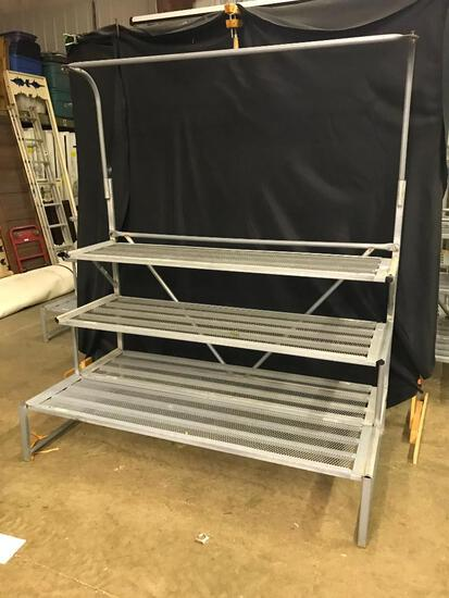 Outdoor, Tripple Step with Hanging Bar, Metal Plant/Large Outdoor Items Display Unit