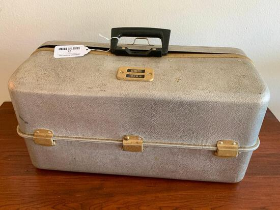 Vintage Umco Aluminum Tackle Box W/Variety Of Lures, Spoons, and Assorted Fishing Items